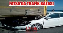 FATSA DA TRAFİK KAZASI PARK HALİNDEKİ TIRA ARKADAN ÇARPTI