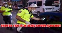 ORDU'DA 1 HAFTALIK ASAİŞ RAPORU AÇIKLANDI