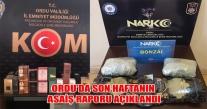 ORDU'DA SON HAFTANIN ASAİŞ RAPORU AÇIKLANDI