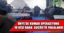 ÜNYE'DE KUMAR OPERASYONU 18 KİŞİ DAHA  SUÇÜSTÜ YAKALANDI.