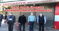 VALİ SONEL ÜNYE'DE VATANDAŞLARLA BAYRAMLAŞTI